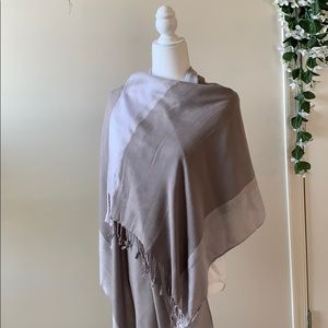 Large scarf/wrap grey-taupe with silver threads